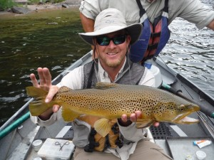 Client John Cancilla's Big Brown Trout on the Green River.